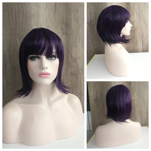 40 cm styled bob dark mixed purple wig