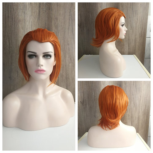 30 cm orange combed back hairline wig