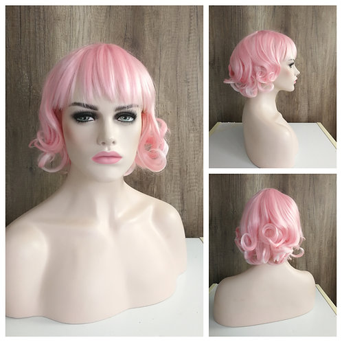 35 cm curly bob style light pink wig