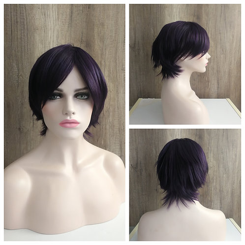 30 cm dark purple with black mix color wig