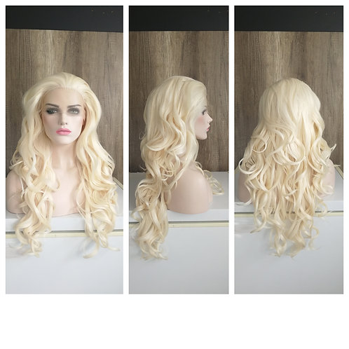 75 cm light blonde curly lace front wig