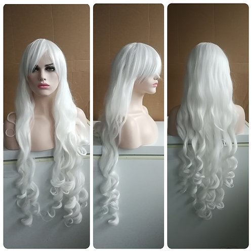 110 white curly wig
