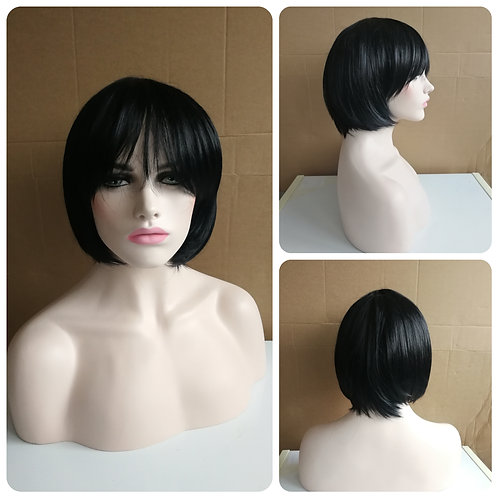 30 cm straight black wig