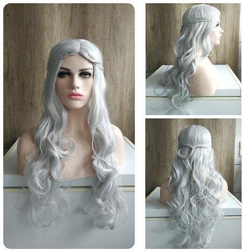 75 cm silver Daenerys elf style wig