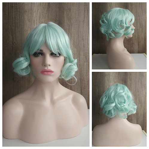 35 cm curly mint green wig
