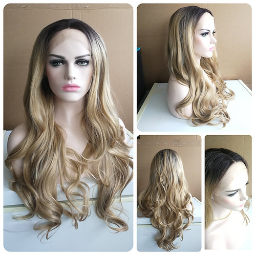 80 cm black roots blonde lace front wig