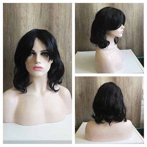 45 cm black wavy bob wig