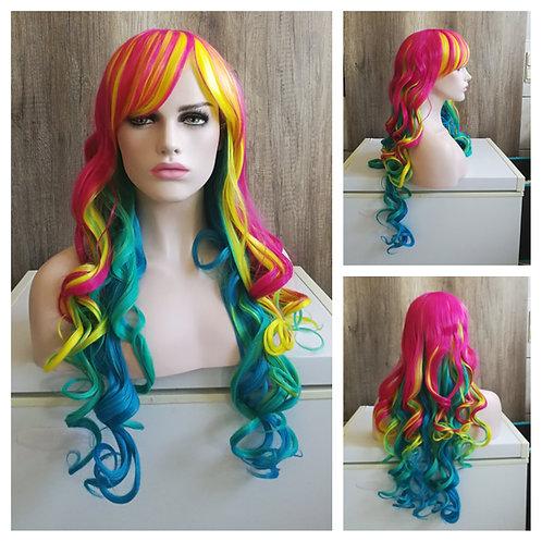 70 cm bright rainbow wig