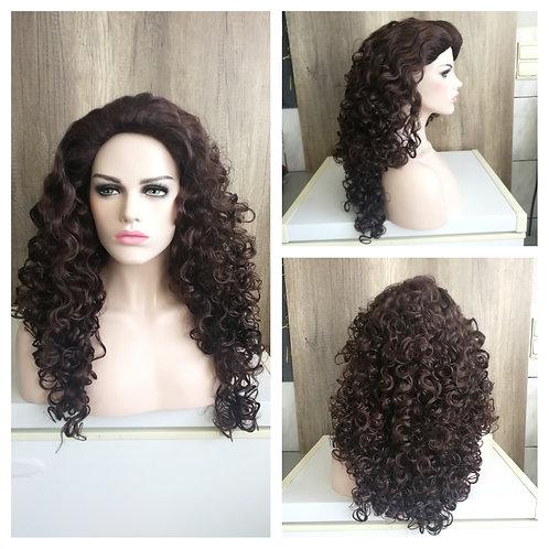 75 cm curly dark brown wig