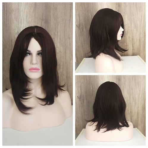 50 cm dark chestnut brown wig