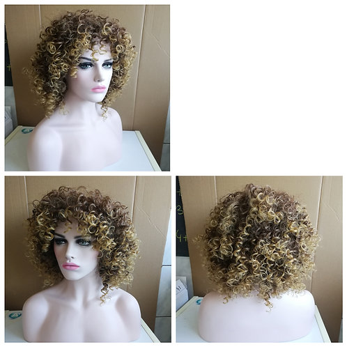 50 cm kinky curly mixed brown wig