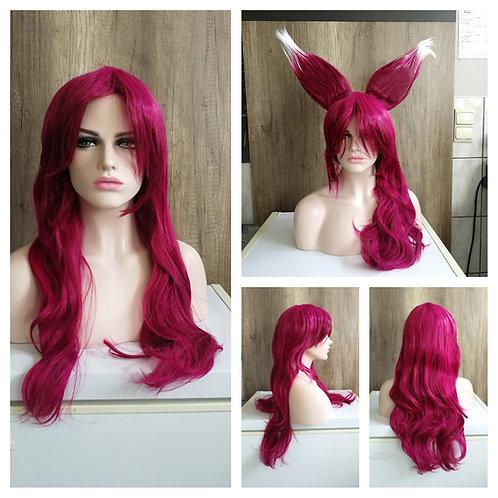 75 cm Champion Xayah LoL magenta wig