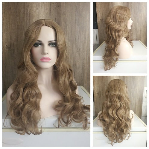 70 cm middle part dark beige blonde wig