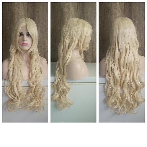 80 cm curly light blonde full wig