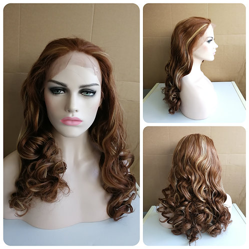 70 cm natural brown lace front wig