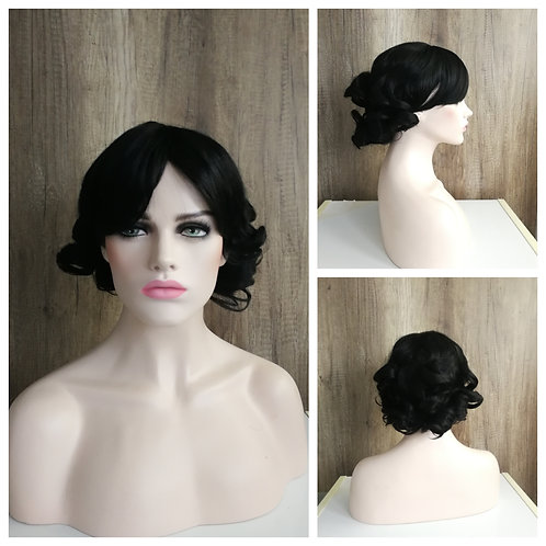 35 cm curly black wig
