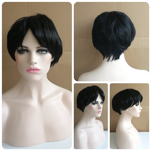 25 cm boy band black wig