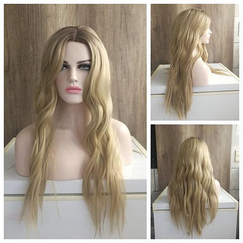 70 cm middle part natural golden blonde wig