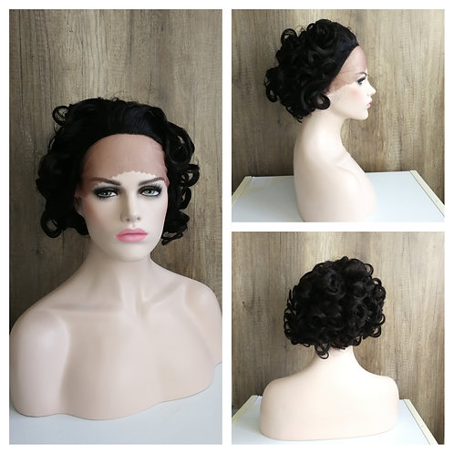 25 cm curly black lace front wig