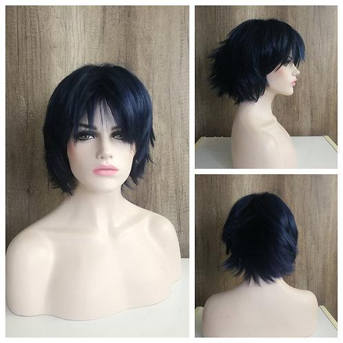 30 cm layered night blue wig