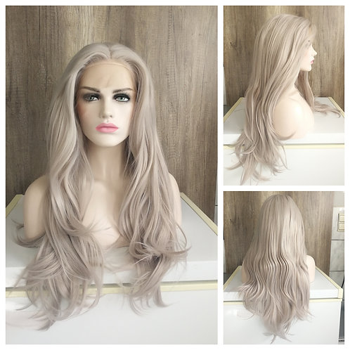 75 cm silver beige lace front wig