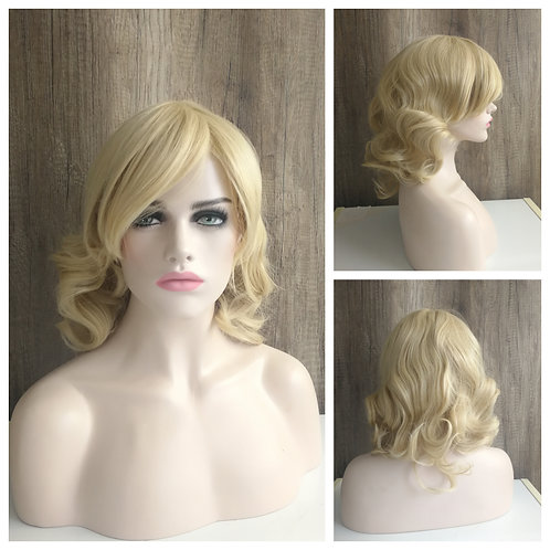 45 cm wavy golden blonde wig