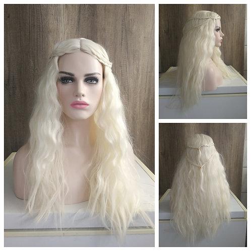 70 cm frizzy platinum blonde wig