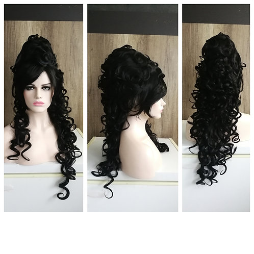 80 cm curly 18th century style black wig