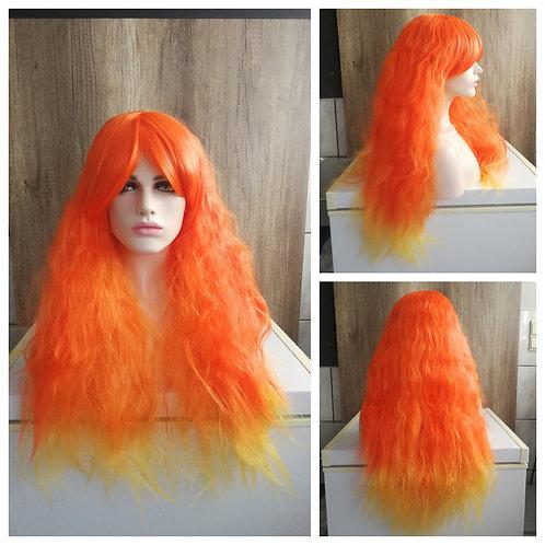 75 cm bright orange frizzy wig
