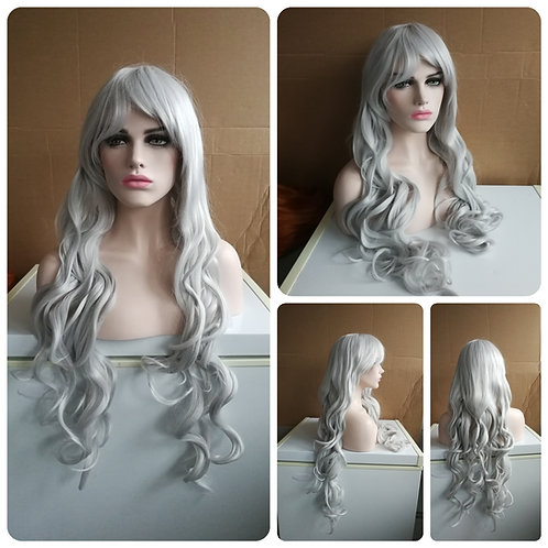 85 cm curly silver wig