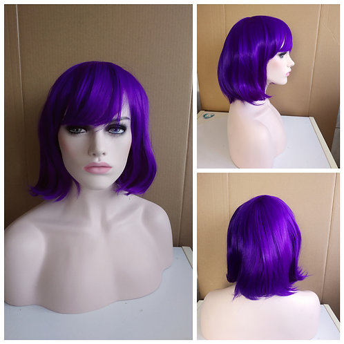 40 cm bob style purple wig