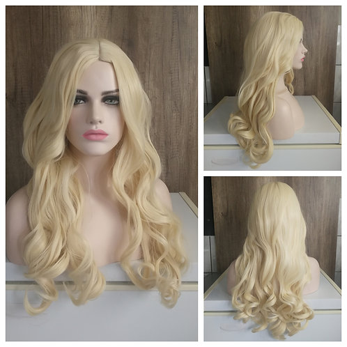 75 cm light blonde middle part wig