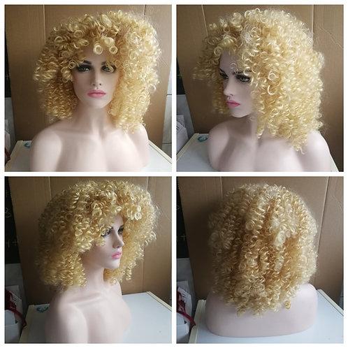 55 cm kinky curly blonde wig