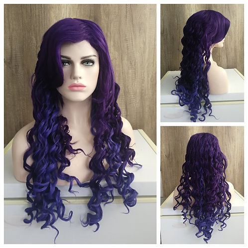 75 cm curly mixed purple wig