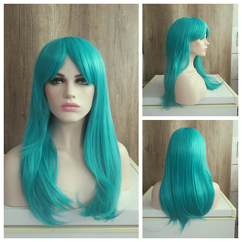 55 cm turquoise green wig