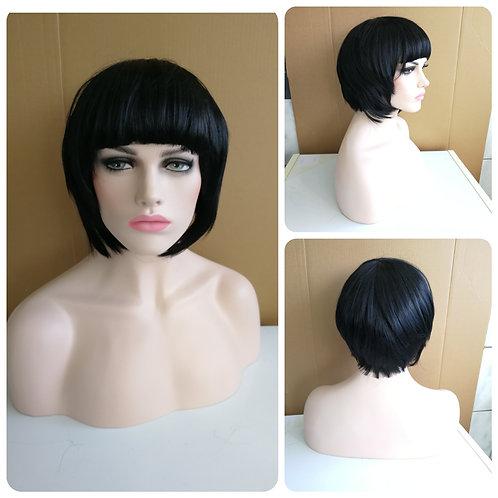 30 cm square bob black wig