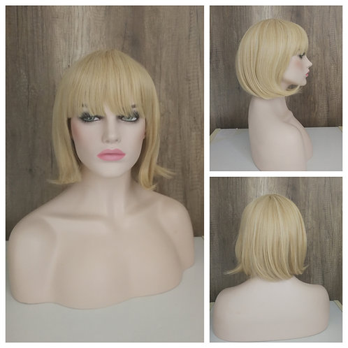 35 cm bob style pale golden blonde wig