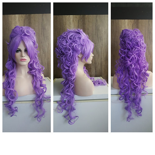80 cm lilac layered styled curly up-do wig