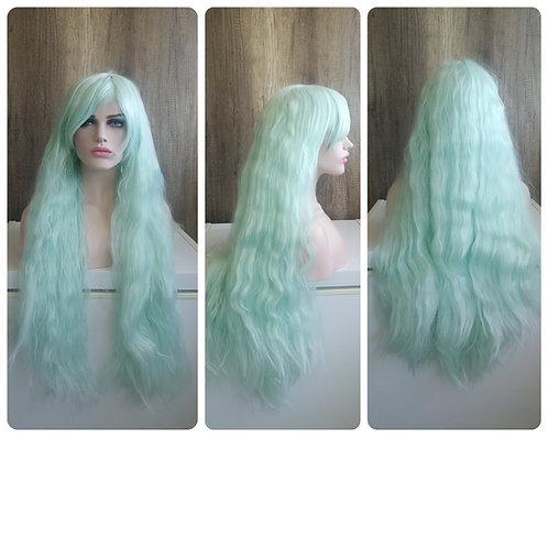 85 cm frizzy mint green wig
