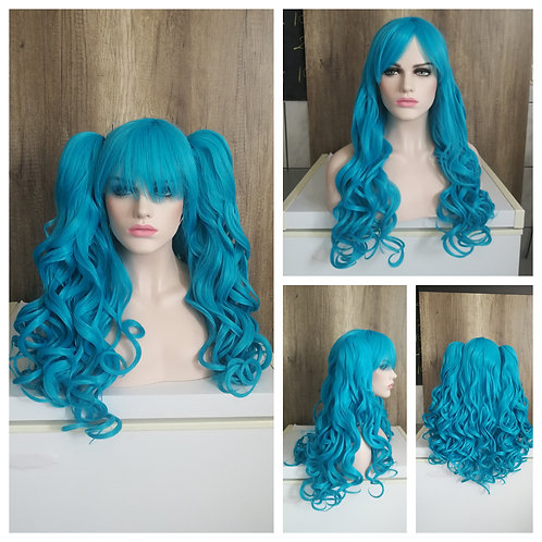 70 curly Turquoise lolita ponytail wig