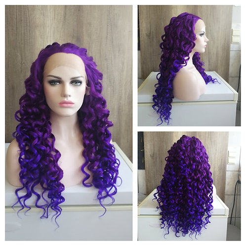 75 cm mixed purple lace front wig