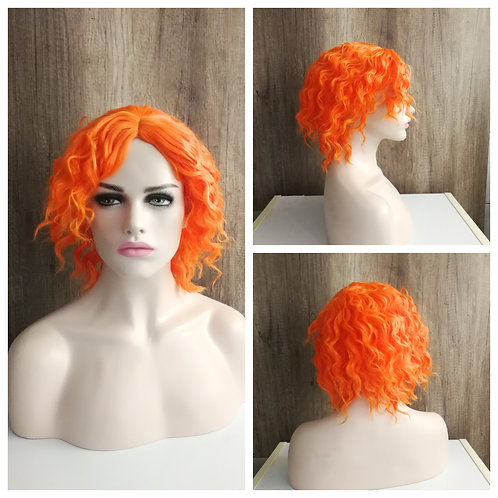 30 cm curly bright orange mad hatter wig