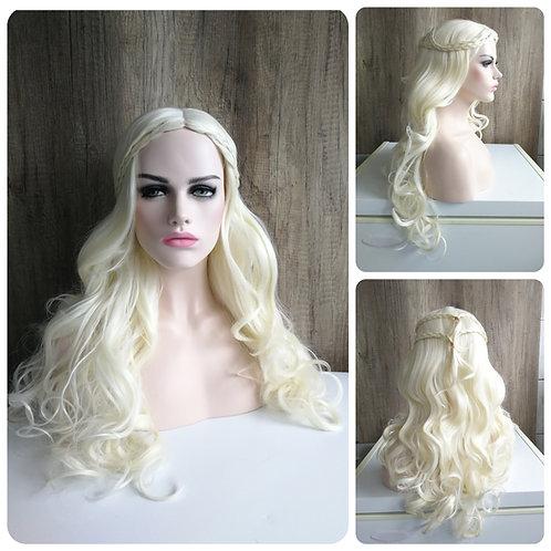 70 cm platinum blonde styled wig