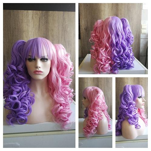65 cm curly lolita purple/ pink ponytail wig