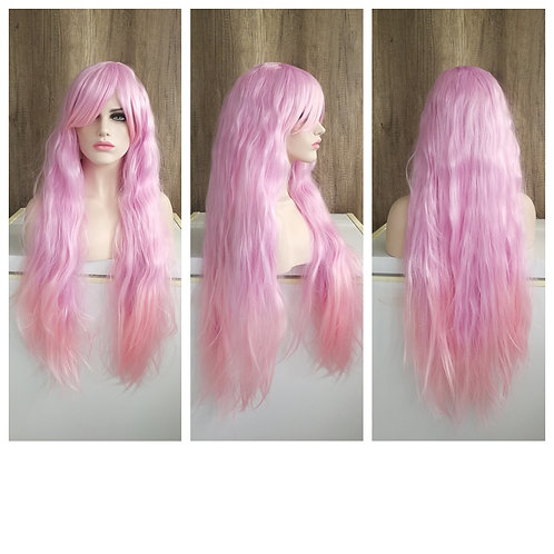 85 cm frizzy mixed pink wig