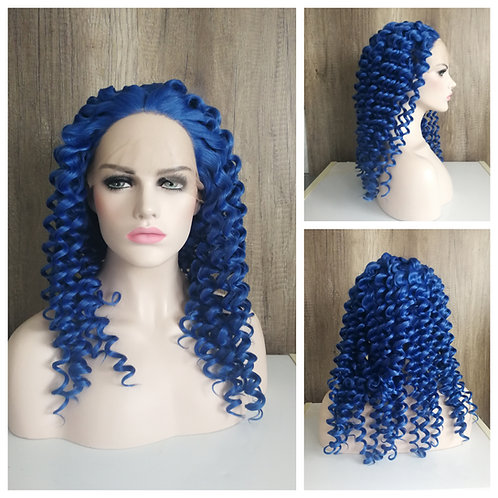 60 cm crimped curly royal blue wig
