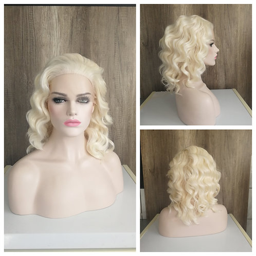 45 cm wavy bleached blonde lace front wig