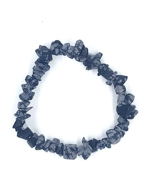 Snowflake Obsidian Crystal Chip Bracelet