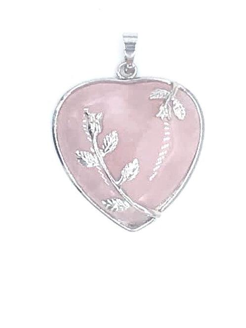 Rose Quartz Silver Heart Pendant