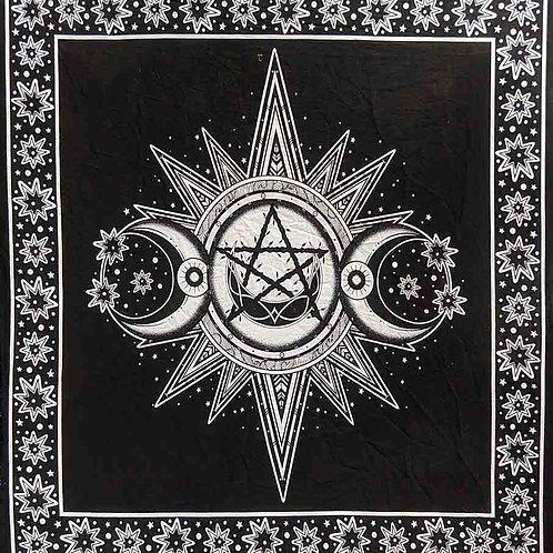 Black Triple Moon Altar Cloth